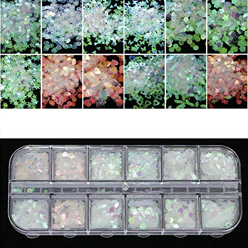 Nail Art Glitter Decals Stickers Flakes AB Chameleon Color Sequins UV Gel Polish Semi-transparent Star Heart Flower Paillette Decor Tools for Nail Make Up 12 Grids/Sets