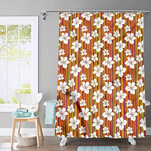 ScottDecor Floral Country Shower Curtain Colorful Barcode Stripes for Bathroom Fabric - Farmhouse Shower Curtain 72 x 78 Inch