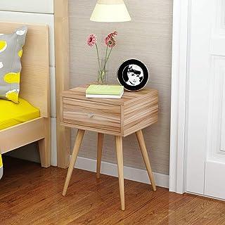 家の改善の家具のデザイン北欧のベッドサイドテーブルシンプルモダンな無垢材の脚小さなキャビネットシンプルな収納キャビネットエコノミーベッドルームベッドサイドキャビネットオーク材1ダーワー