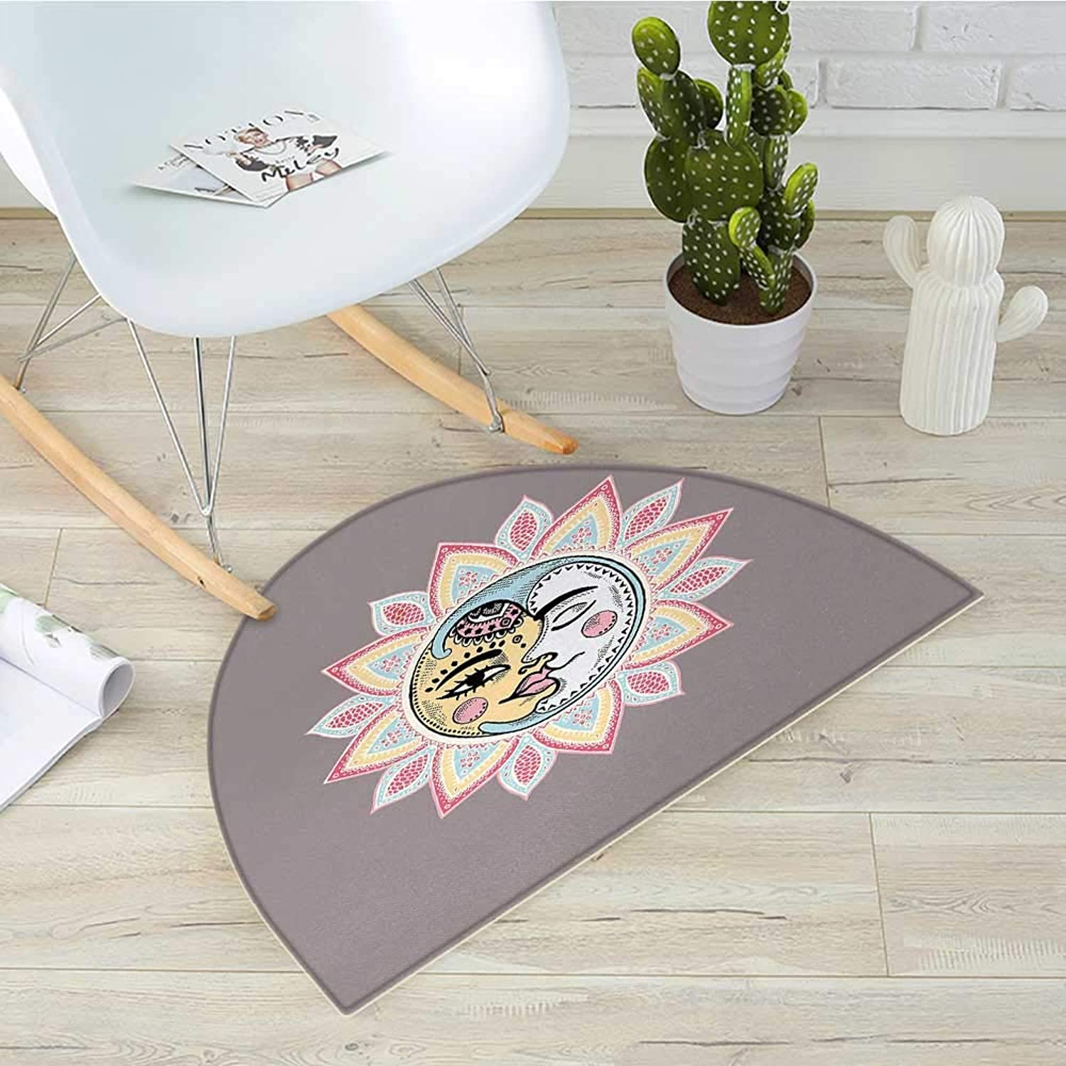 Sun Semicircular CushionSun and Moon with Faces Abstract Floral Pattern Foliage Leaves Design Ethnic Entry Door Mat H 43.3  xD 64.9  Dimgrey Multicolor