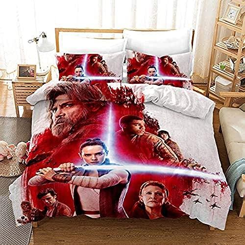HJSM Star Wars - Juego de cama con diseño de Star Wars The Force Awakens, impresión digital en 3D con funda de edredón y fundas de almohada, para niños y niñas (A5,doble, 200 x 200 cm)