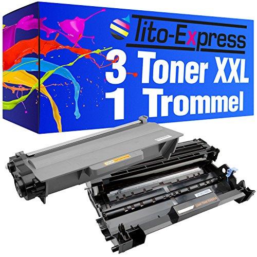 Tito-Express PlatinumSerie Set Trommel & 3 Toner XXL Schwarz kompatibel mit Brother DR-3300 & TN-3380 HL-5470 HL-6180 MFC-8510 DN