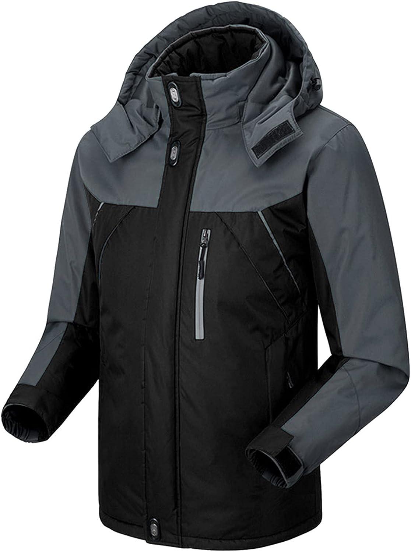 Coats for Men Autumn Winter Long Sleeve Windbreaker Splice Coat Plush Lining Warm Removable Hooded Pocket Jacket