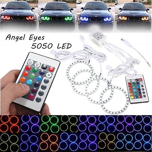 MASUNN 4pcs RGB 80mm Multi-Color 5050 Flash LED SMD 12V Angel Eyes et télécommande