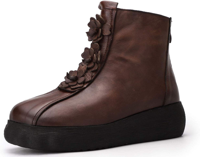 schuhe house Damenleder-Ankle-Stiefel zurück Zip Simple Martin Stiefel Leder Flower Dekoration Plattform Stiefel