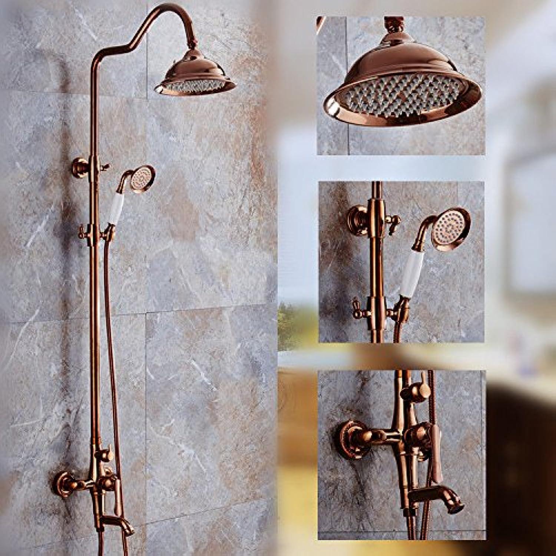 Bijjaladeva Antique Bathroom Rain Mixer Shower tap Set Rainfall Shower faucet system Euro-copper lift pink gold shower kit titanium-cold water faucet handheld shower