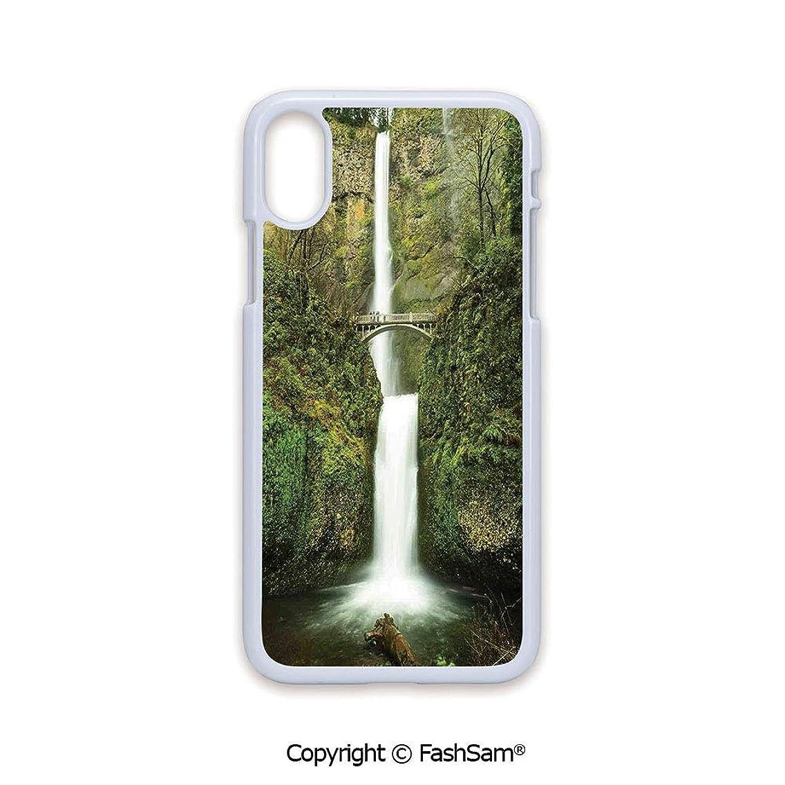 Plastic Rigid Mobile Phone case Compatible with iPhone X Black Edge Falls of Rivendell Multnomah Waterfall Oregon with Hobbit Elf Path Bridge Scene Image 2D Print Hard Plastic Phone Case