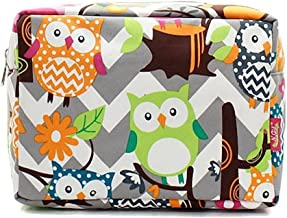 N.Gil Grey and White Chevron Owl Print Cosmetic Travel Pouch