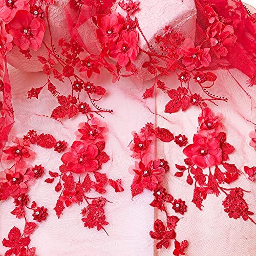 1 Yard Red Gauze Luxurious Sequin Floral Embroidered Lace Fabric for Dress,Prom Dress Lace,Wedding Bridal Dress Lace,Soft Lace Fabric