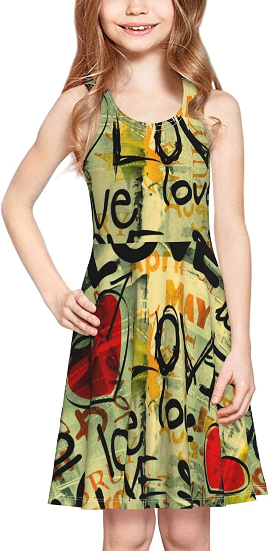 Love Artwork Dress Girl's Fashion Printing Casual Skirt Tank Dress