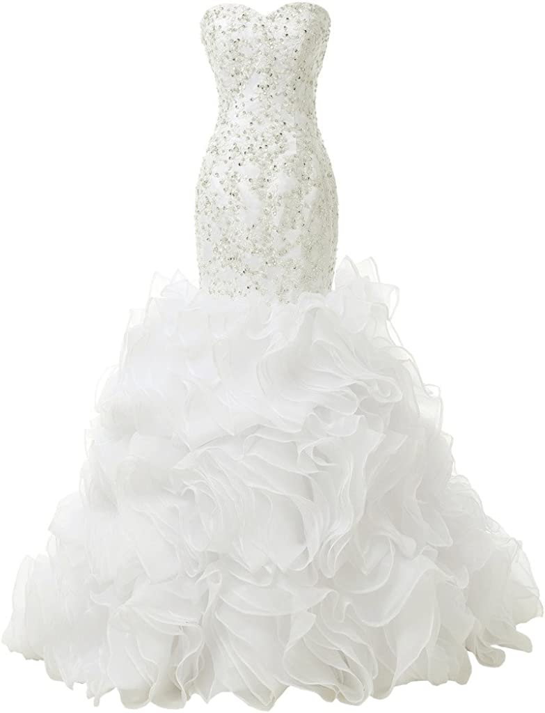SOLOVEDRESS Price reduction Women's Luxury Sweetheart Max 86% OFF Beaded Weddi Puffy Ruffles