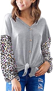 Sanyyanlsy Fashion Women's Casual V-Neck Leopard Print Button Front Bandage Loose Patchwork Knitted Tops Sweater Jacket