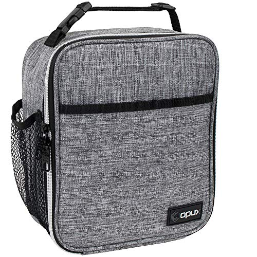 OPUX Premium Insulated Lunch Box | Soft Leakproof School Lunch Bag for Kids, Boys, Girls | Thermal Reusable Work Lunch Pail Cooler for Adult Men, Women, Office Fits 6 Cans (Light Grey)