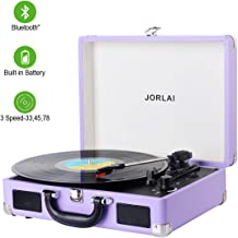 Vinyl Record Player JORLAI Turntable, 3 Speed BT Record Player Suitcase with Built in Speakers/Rechargable Battery/Vinyl-to-MP3 Recording/Headphone Jack/Aux Input/RCA Line Out - Lavender