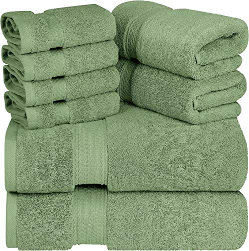 utopia luxury bath towels Utopia Towels - Premium Towel Set, Sage Green - 2 Bath Towels, 2 Hand Towels, and 4 Washcloths - 700 GSM Ring Spun Cotton Highly Absorbent Towels for Bathroom, Shower Towel, (8 Pieces)