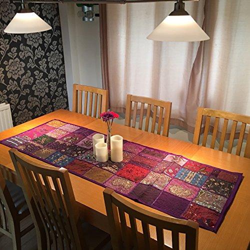 Stylla London Camino de mesa hecho a mano con diseño de sari...