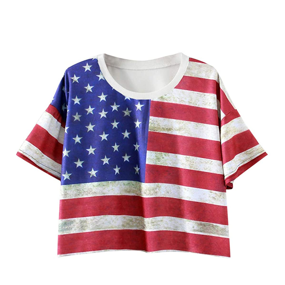 Short Sleeve Tee Blouse for Women,Amiley Womens American USA Flag Crop Tops Short Sleeve 4th of July Blouses T Shirts