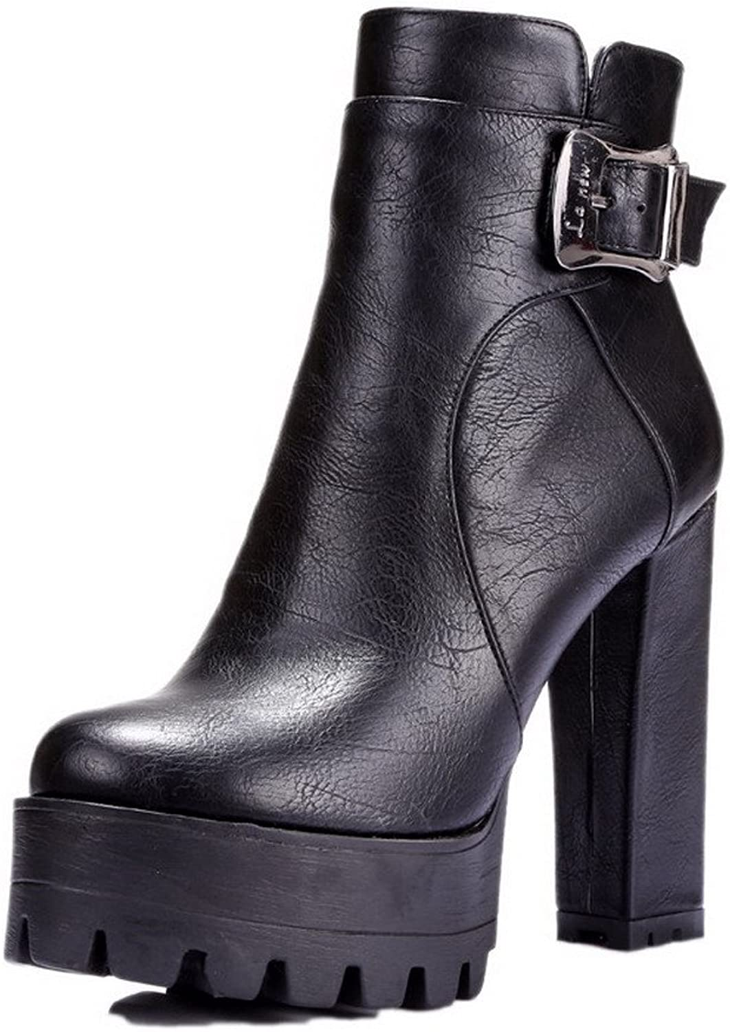 AmoonyFashion Women's Round-Toe Closed-Toe High-Heels Boots with Platform and Buckle