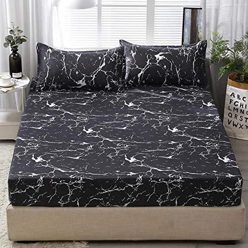 WTMLK 3pc Bed Sheet with Pillowcase Geometric Printed Fitted Sheet With Elastic Bed Linen Polyester Mattress Cover Queen Size,type 22,only 2pcs pillowcase