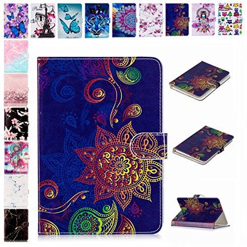 E-Mandala Universal 7 Zoll Hülle Etui Flip Hülle Leder Wallet Cover Tablet PC Tasche mit Kartenfach Klapphülle Ledertasche Lederhülle - Mandala Blumen Henna