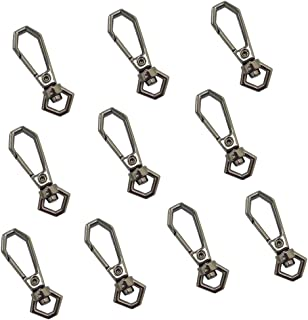 LONG TAO 10 Pcs Hexagon Lobster Claw Clasps Swivel Clasps Lanyard Snap Hook Jewelry Chain Connector Handbag Chain Buckles (Black)