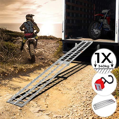 Jago Auffahrrampe 340kg pro Rampe - 1er oder 2er Set, Aluminium, klappbar, Antirutsch - Laderampe, Auffahrschiene, Anhängerrampe, Verladerampe, Verladeschiene, Fahrrampe