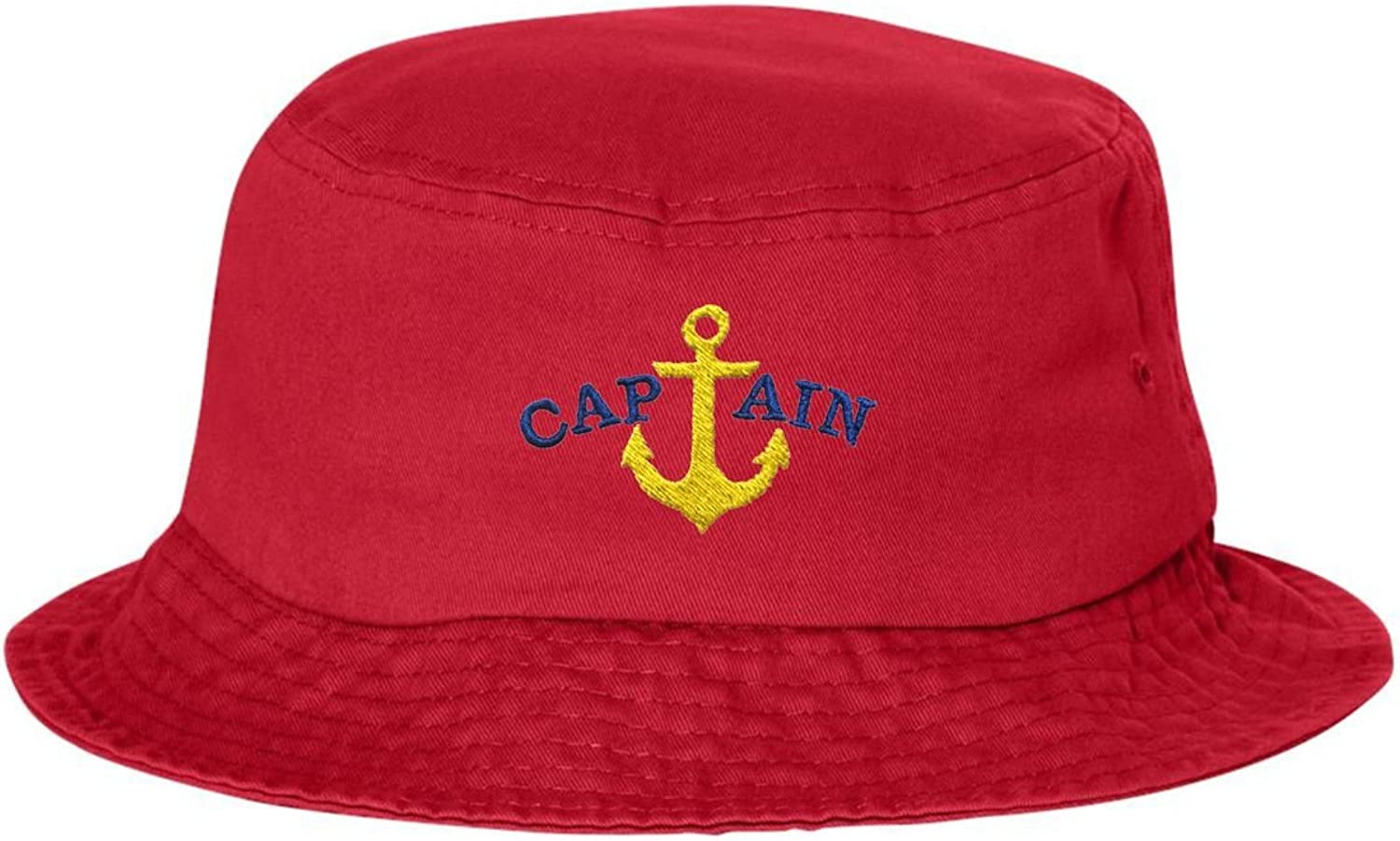 Go All Out Adult Blue Captain /& Yellow Anchor Embroidered Bucket Cap Dad Hat