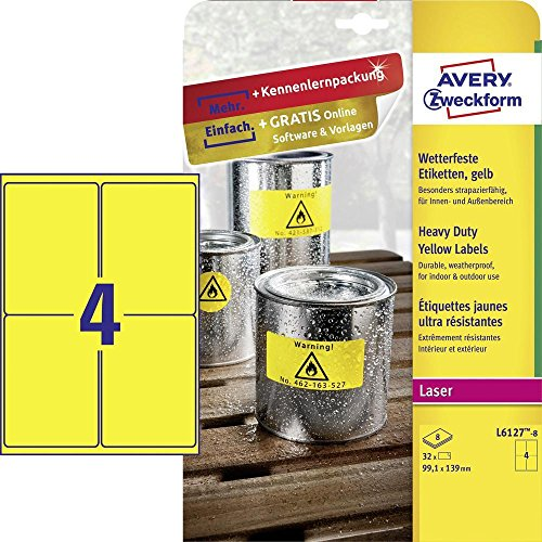 Avery España L6127-8.Caja de32 etiquetas amarillo fluorescentes de poliéster 8hj