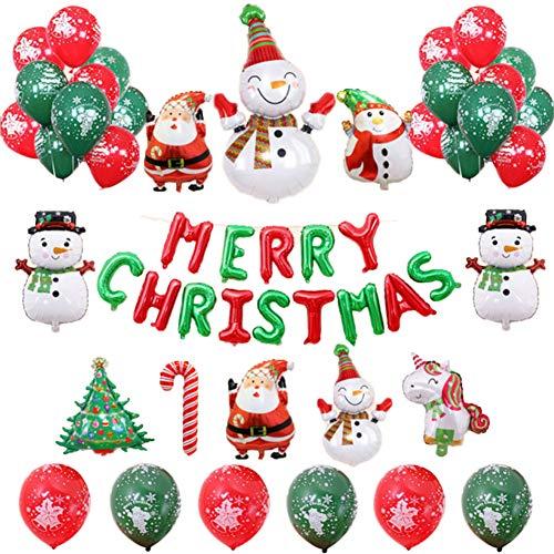 Set de 37 Merry Christmas Decoración de Fiesta de Navidad, Kit de Globos de Decoraciones navideñas,Globos Decoración de Fiesta de Navidad, Feliz Navidad/Papá Noel/Árbol de Navidad/Ciervo