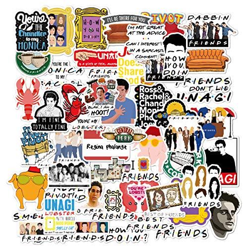 Friends TV Show Merchandise Stickers Pack of 50 Stickers-Funny Quote Waterproof Vinyl Stickers for Laptop Water Bottles Phone Notebook Computers Guitar Bike Helmet Car-Interesting Gift