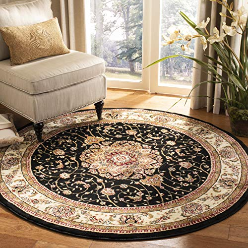 Safavieh Lyndhurst Collection LNH329A Traditional Medallion Black and Ivory Round Area Rug (4' Diameter)
