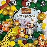 Dschungel Geburtstag Dekoration - Safari Tier Golden Happy