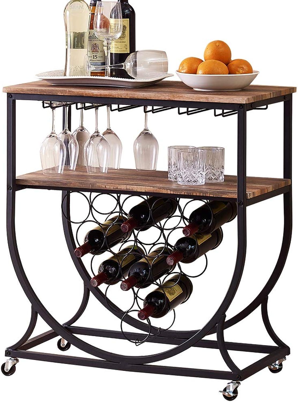 O&K FURNITURE Industrial Bar Cart on Wheels for Home, Wine Rack Cart with Glass Holder, Vintage Brown