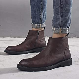 HealHeatersⓇ Botas Hombre Botines Antideslizante Trekking Zapatos Piel Genuina Occidental Vendimia Chelsea Botas Cremaller...