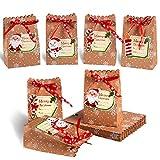 Evance Lot de 24 Boîtes Cadeau de Noël en Papier Kraft 24 Etiquettes Noël, Sac Cadeau Noël pour Emballage Cadeau, Bonbons, chocolats, Biscuits, Aliments pour Décoration de Noël (12 x 7 x 18.5cm)