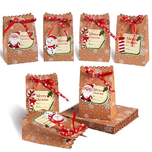Evance 24 pcs Cajas Kraft Bolsas de Papel de Caramelo con 24 Etiquetas Navideñas para Decoración de Navidad Suministros (12 x 7 x 18.5cm)