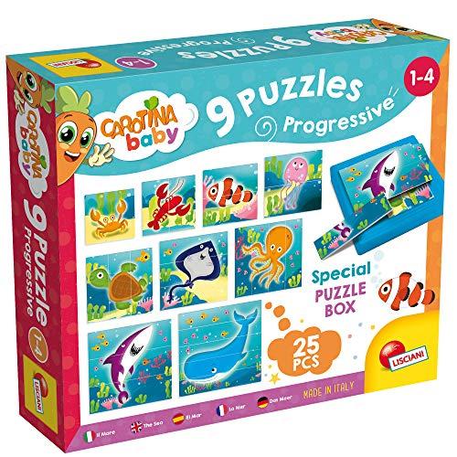 Lisciani - Coffret de 9 Puzzles Progressifs Les Animaux Marins, 58457