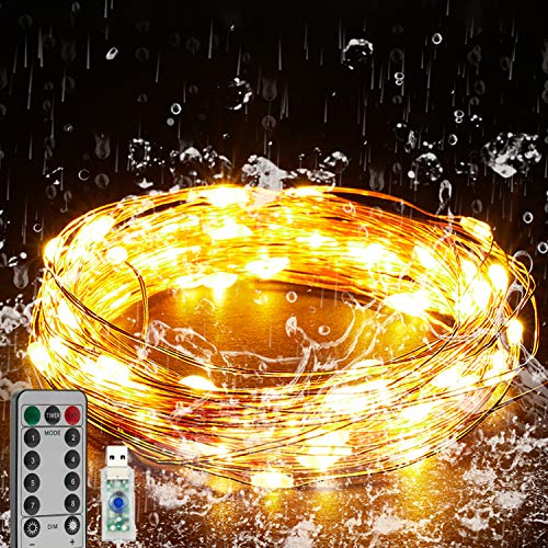 Tekage USB Fairy String Lights 33Ft 100 LED Mini Twinkle Lights with 8 Lighting Modes Remote Control, for Christmas Bedroom Wedding Party Craft Indoor Decor, Warm White
