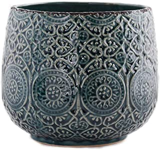 Little Green House Ceramic Blue Round Vase - Large