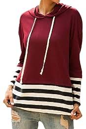 Jmwss QD Women Slim Fit Casual Drawstring Tops Solid Color Pullover Sweatshirts