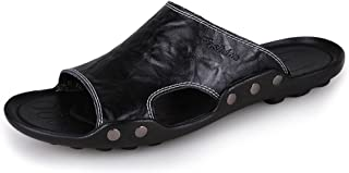 Z.L.FFLZ Men Sandals Men's Genuine Cowhide Leather Beach Slippers Non-slip Sole Sandals guess (Color : Orange, Size : 10.5...