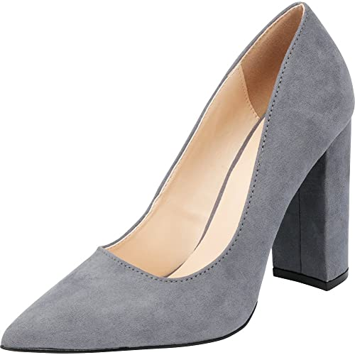 76abaf86010 Cambridge Select Women s Classic Pointed Toe Chunky Block High Heel Pump