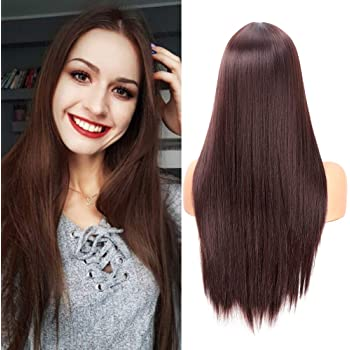 Fani 22 Inch Long Straight Dark Brown Wigs for Women and Ladies Natural Hairline Middle Part Synthetic Full Wig (4#)