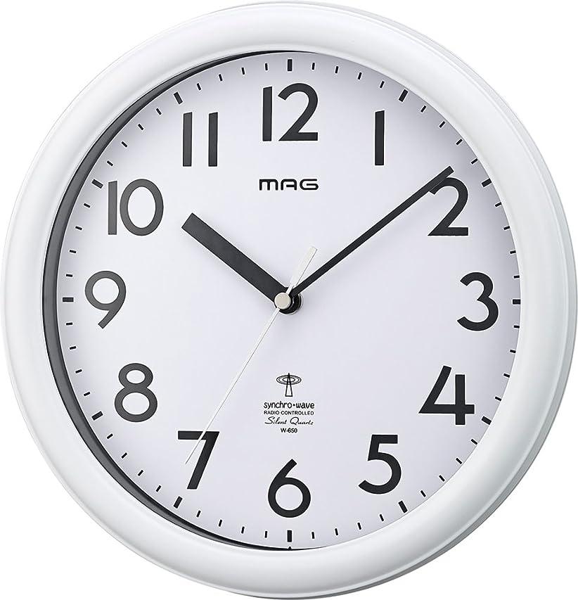 攻撃歴史的タクシーMAG(マグ) 掛け時計 電波 アナログ カプタイン 直径24.9cm 連続秒針 マットホワイト W-650WH-Z