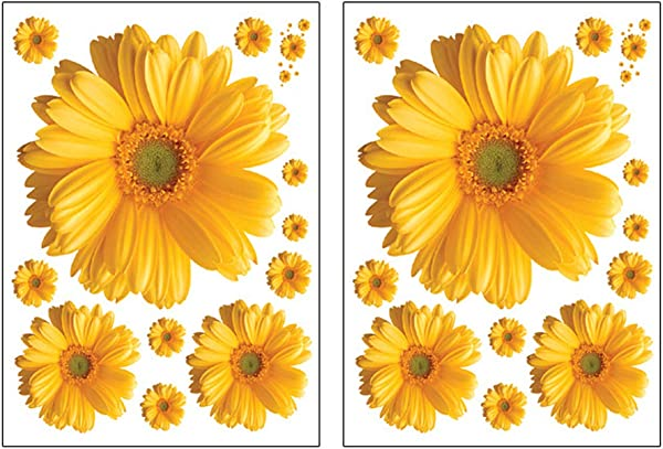 VIIRY 2Sets Sunflower Wall Decals 3D Yellow Red Pink Daisy Flowers Wall Stickers Peel And Stick Removable Wall Art Home Decor For Kids Room Living Room Bedroom Nursery Stickers Decoration Yellow