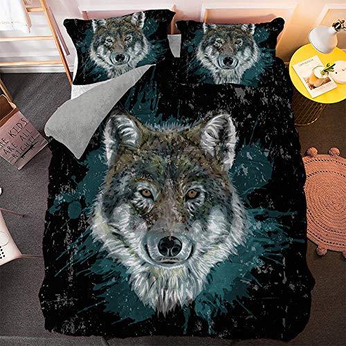 HGFHGD Bettwäscheset mit Wolfsmuster, 3D-Bettbezug für Erwachsene, Studenten, groß, 5 Farben