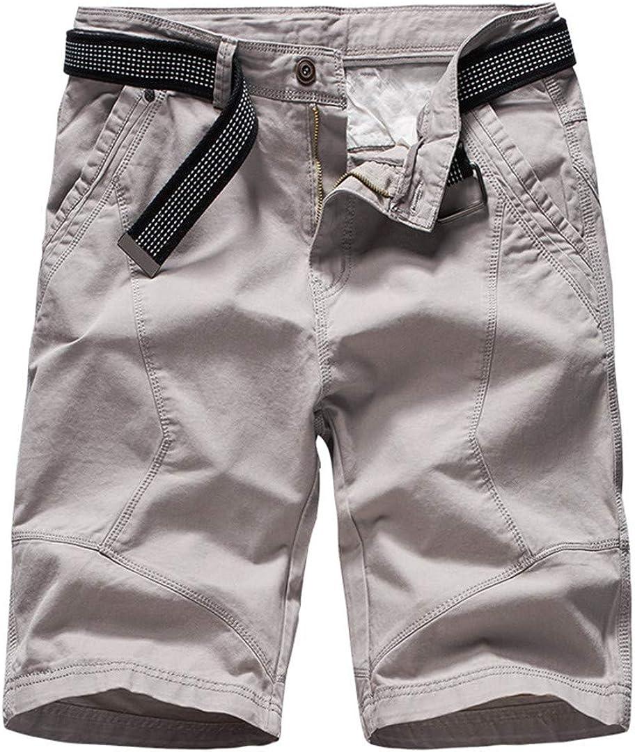 R-Hansets Mens Cargo Shorts Green Army Military Tactical Shorts Cotton Loose Work Short Pants Light Grey 36