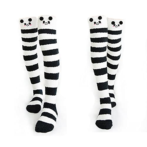f77817c28 Cute Thigh High Long Striped Socks Coral Fleece Warm Soft Over Knee High  Socks