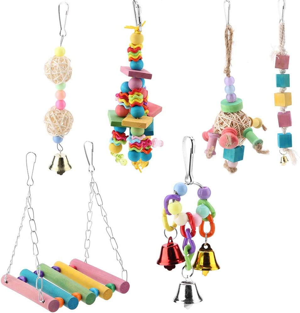 Nicoone 6Pcs Bird Toys Parrot Swing Hangin OFFicial shop Toy Chewing Omaha Mall Wood