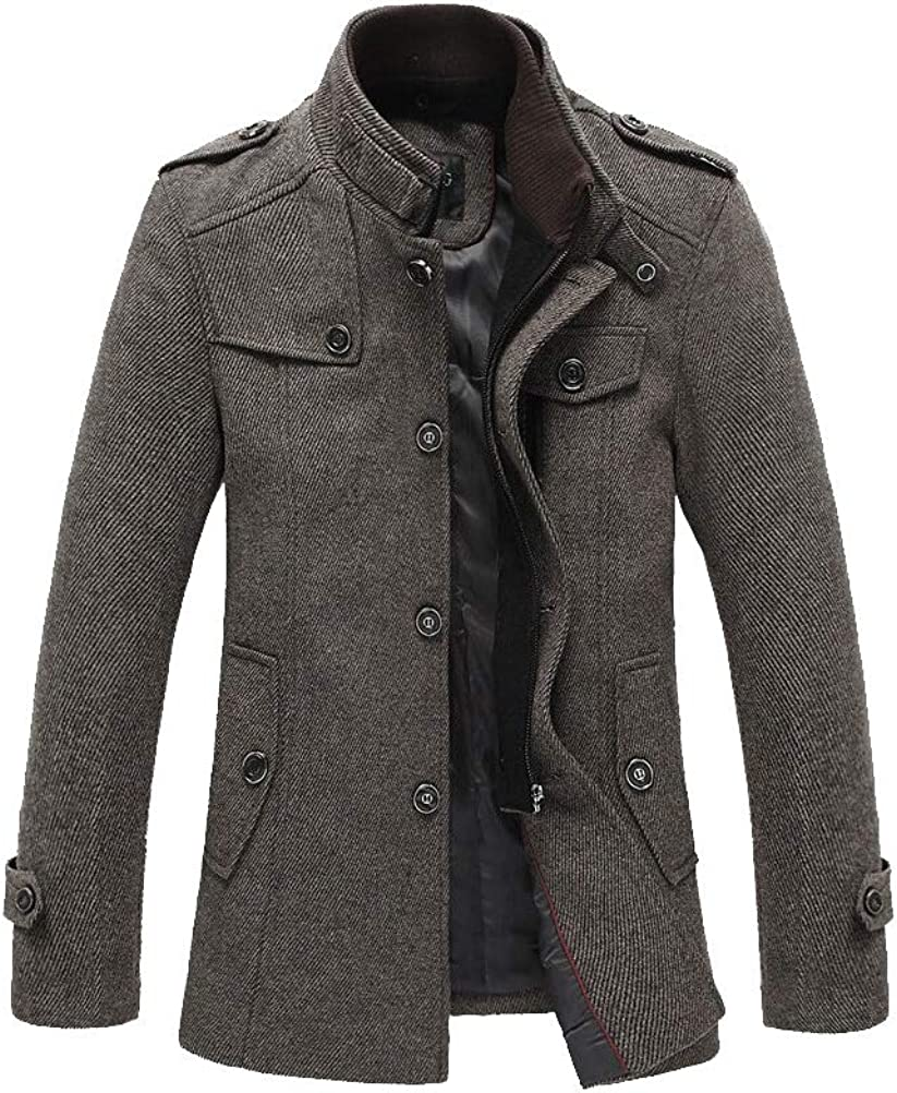FTCayanz Men's Wool Pea Coats Winter Stand Collar Single Breasted Military Jacket